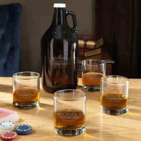 Kensington Personalized Whiskey Glasses and Growler