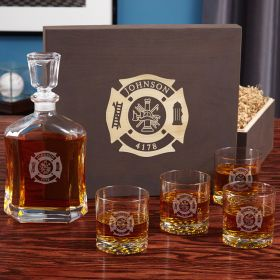 Fire & Rescue Engraved Liquor Decanter Set for Firefighters