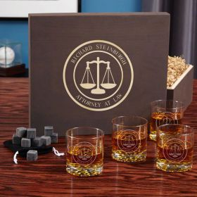 Scales of Justice Whiskey Stone Gift Set for Lawyers