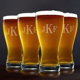 Classic Monogram Pilsner Beer Glasses, Set of 4