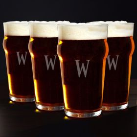 Personalized English Pub Glasses, Set of 4