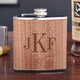 Walden Classic Monogram Natural Wood Flask