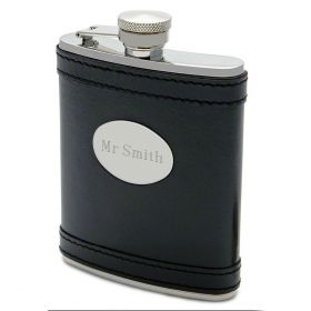 Banded Black Leather Hip Flask 7oz (Engravable)