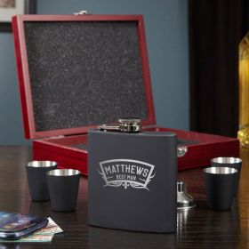Wedding Party Engraved Flask Gift Set
