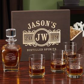 Marquee Whiskey Decanter and Eastham Glass Gift Box Set