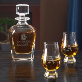 Wax Seal Decanter and Glencairn Glass Set