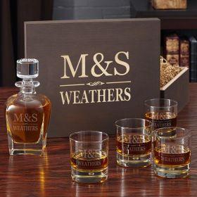 Brighton Engraved Whiskey Gift Box Set