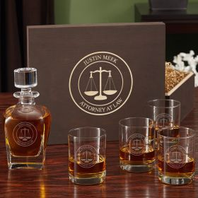 Scales of Justice Custom Whiskey Glass and Decanter Set with Gift Box for Lawyers
