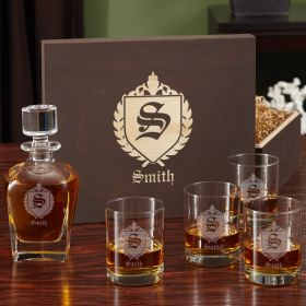 Oxford Custom Decanter Set with Engraved Wood Gift Box