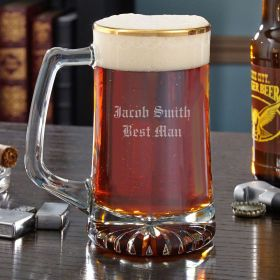 Gold Rimmed Personalized Beer Mug