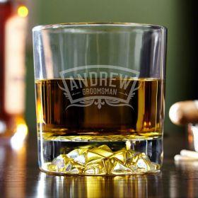 Wedding Party Engraved Fairbanks Whiskey Glass