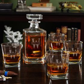 Oakmont Etched Whiskey Decanter Set with Square Rocks Glasses