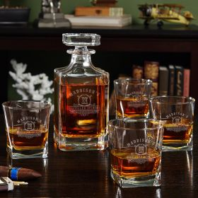 Carraway Monogram Custom Whiskey Glasses and Decanter Set