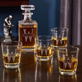 Oakmont Engraved Whiskey Decanter Set with Rocks Glasses