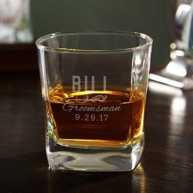 Classic Groomsman Personalized Square Rocks Glass