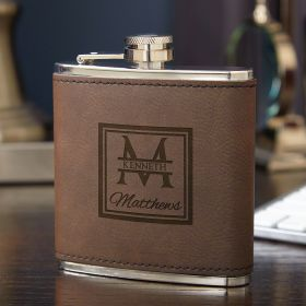 Oakhill Leatherette Wrapped Fitzgerald Liquor Flask, 6 oz
