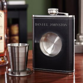 Dual Liquor Flask with Shot Glass Set (Engravable)