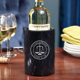 Scales of Justice Personalized Marble Wine Chiller for Lawyers
