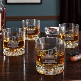 Oilfield Personalized Whiskey Tumblers, Set of 4