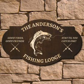 Fishing Lodge Personalized Wood Sign (Signature Series)