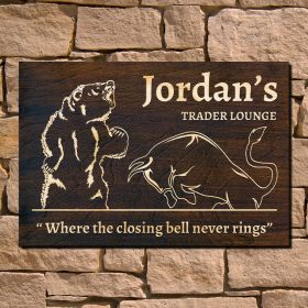 Trader Lounge Personalized Wooden Sign (Signature Series)