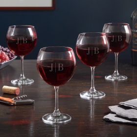 Quinton Monogrammed Red Wine Glasses, Set of 4