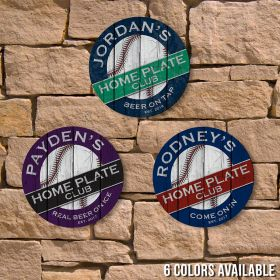 Home Plate Club Personalized Baseball Fan Sign, 6 Colors