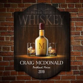Premium Scotch Whiskey Personalized Wood Bar Sign
