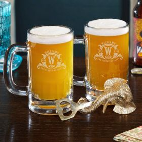 Westbrook Monogrammed Beer Mugs and Bottle Opener Set
