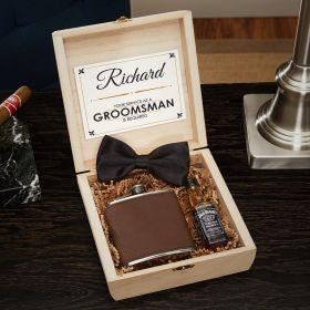 Wilshire Engraved Cigar Box Humidor Groomsmen Gift Set