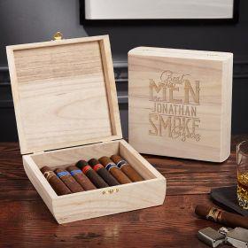 Great Men Smoke Cigars Square Vintage Wooden Box