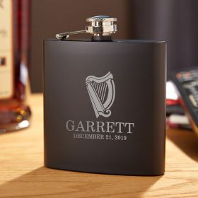 Celtic Harp Blackout Hidden Flask