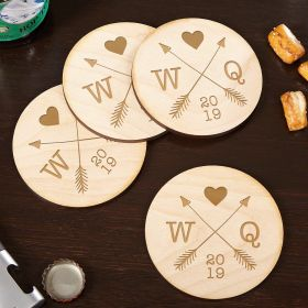 Whitby Crossed Arrows Wooden Custom Coasters for Couples