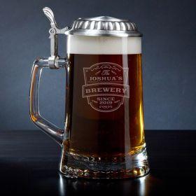 Vintage Brewery Engraved European Beer Stein Glass