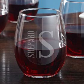 Elton Engraved Stemless Wine Glass