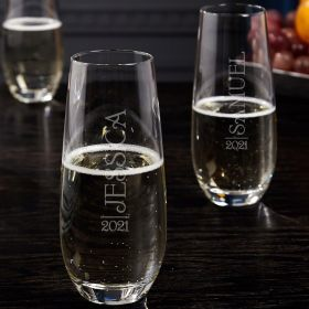 Jubilation Stemless Personalized Champagne Flutes Set of 2
