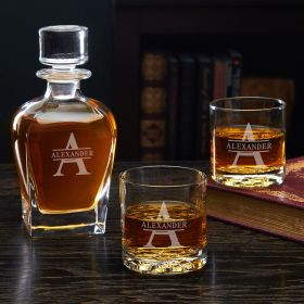 Oakmont Etched Decanter Whiskey Set with Whiskey Glasses