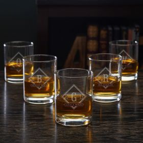 Drake Eastham 5 Custom Whiskey Glasses for Groomsmen
