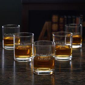 Eastham Personalized Whiskey Glasses for Groomsmen – Set of 5