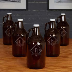 Drake Amber Beer Growlers Custom Groomsmen Gifts - Set of 5