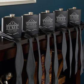 Rockefeller Blackout Groomsmen Flasks - Set of 5