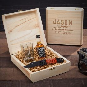 Classic Groomsman Double Shot Glass Personalized Gift Box