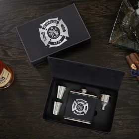 Fire and Rescue Personalized Flask Set – Firefighter Gift