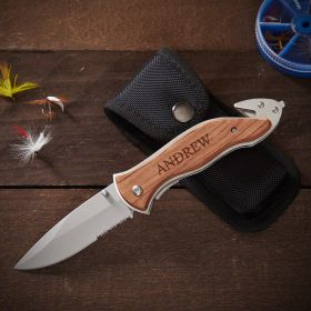 Serrated Personalized Hunting Knife Gift for Men