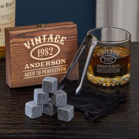 Aged to Perfection Custom Whiskey Chilling Stones Gift Set