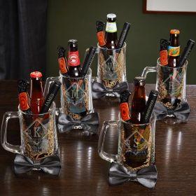 Drake Personalized Bottle Openers & Beer Mugs for Groomsmen – Gift Set for 5