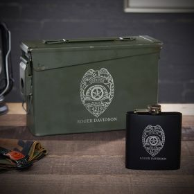 Custom Police Badge 30 Cal Ammo Can Flask Set – Law Enforcement Gift