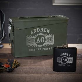 Marquee Engraved 30 Cal Ammo Can Flask Gift Set