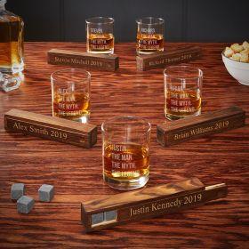 The Man The Myth The Legend Custom Whiskey Stones Gift Set for Groomsmen – Set of 5