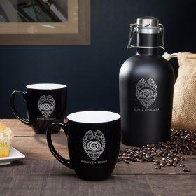 Police Badge Personalized Coffee Growler & Mug – Police Gift Set